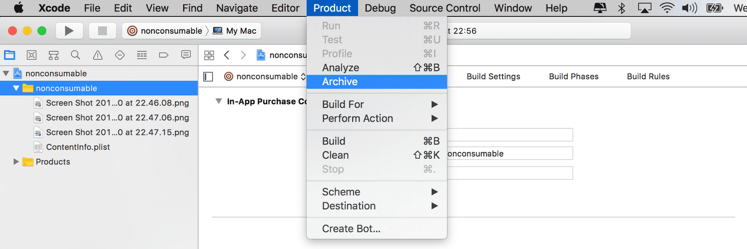 xcode in app product archive