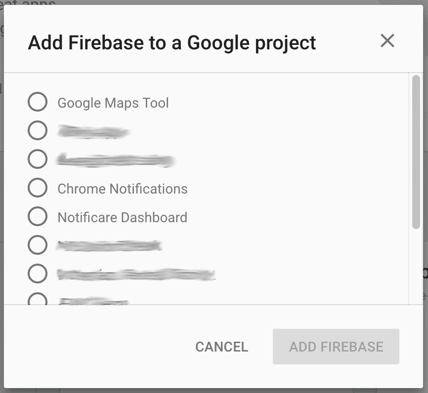 fcm google projects window