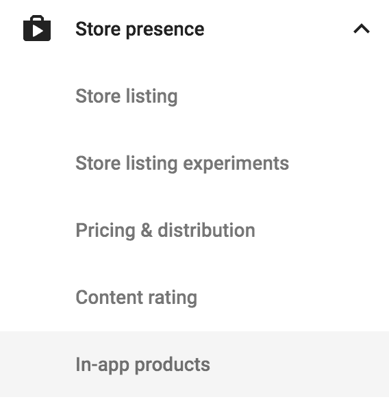 google play menu in app products