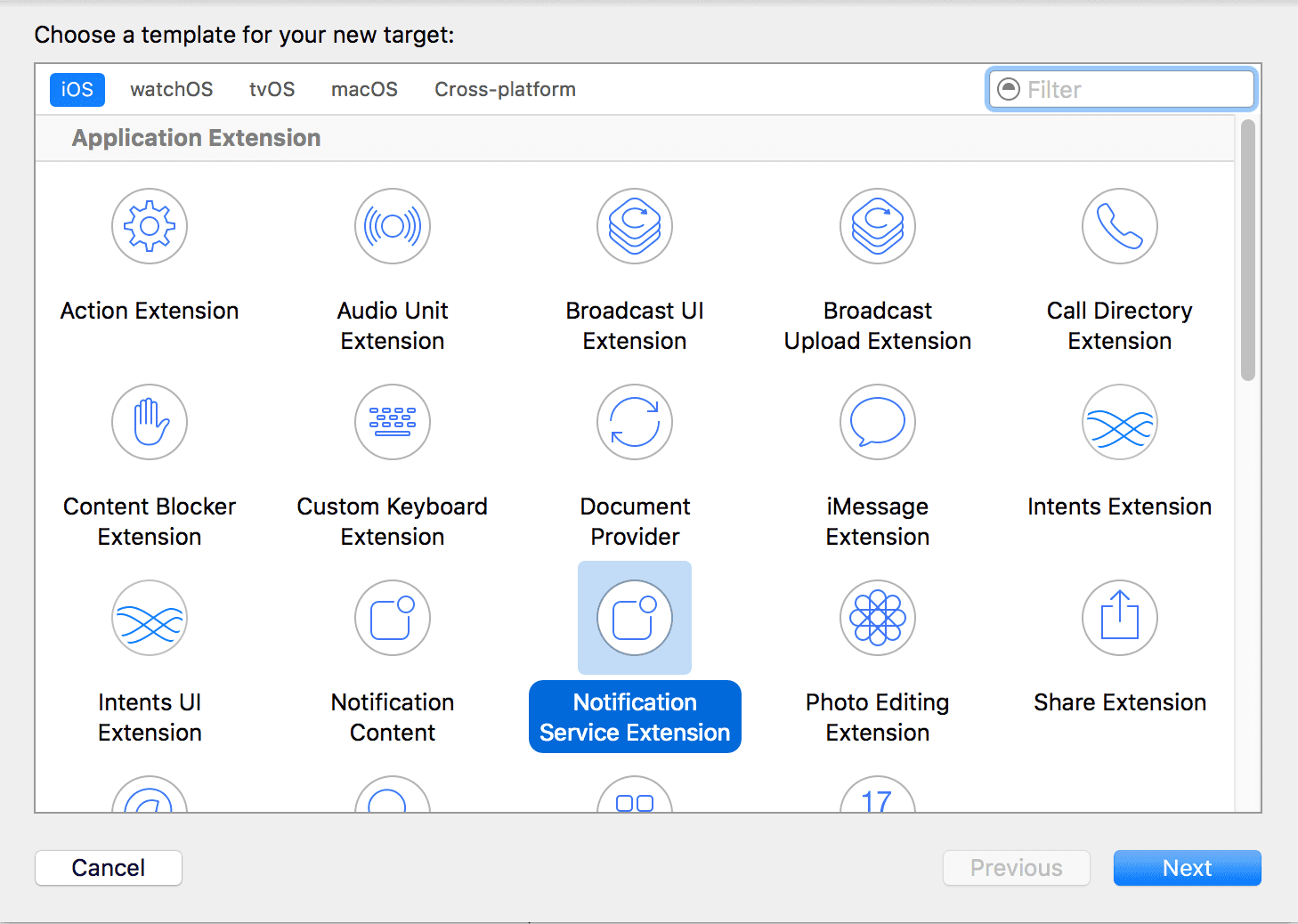 ios service extension select extension
