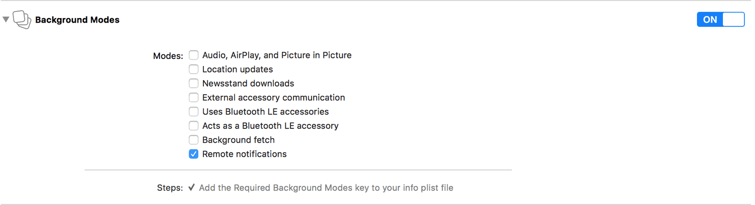 xcode capabilities background modes