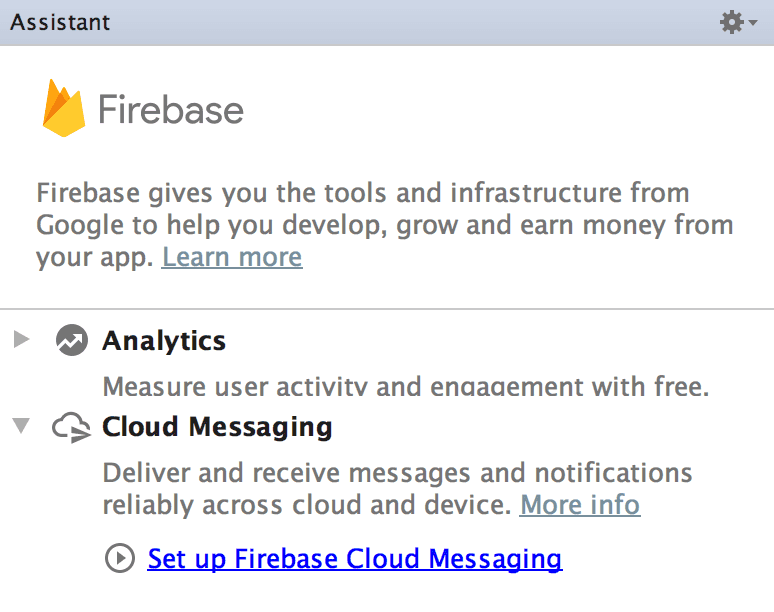 android studio firebase assistant