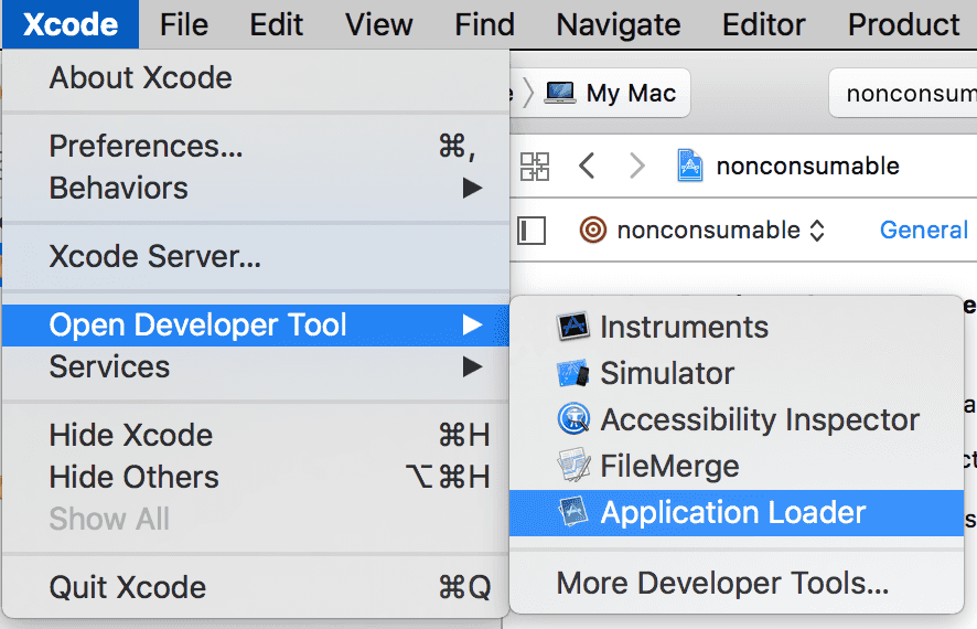 xcode open application loader