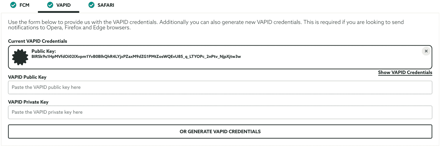 vapid credentials
