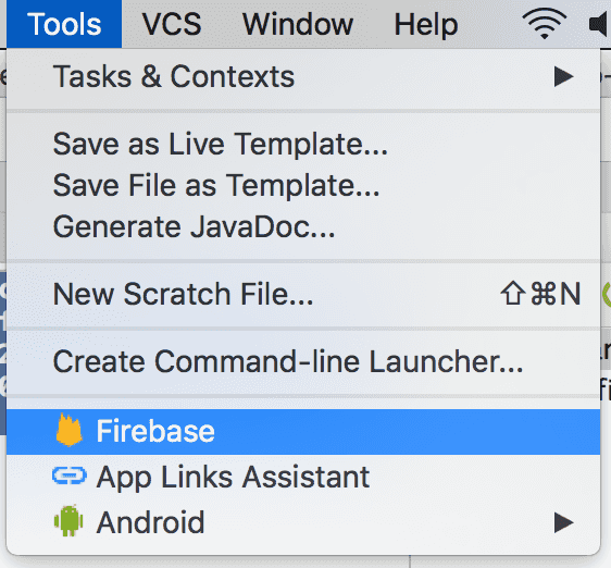 android studio tools firebase