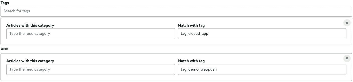 selected tags